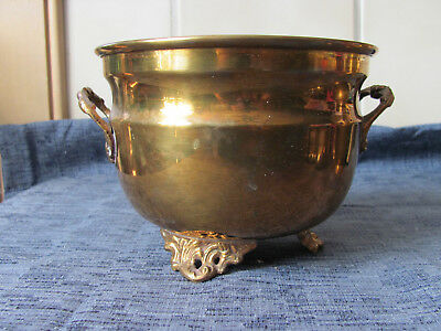 VINTAGE OLD HEAVY SOLID LARGE BRASS FOOTED POT PLANTER VESSEL BOWL INDIA 60's