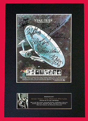 STAR TREK MINI MOVIE POSTER -SIGNED BY 8 Cast Members - FREE WORLDWIDE DELIVERY