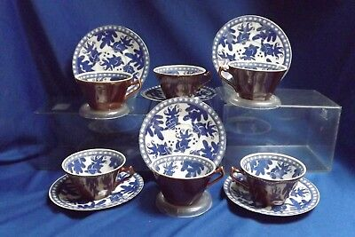 6 Antique High Quality Japanese Porcelain Blue Koi on Chocolate Cups & Saucers