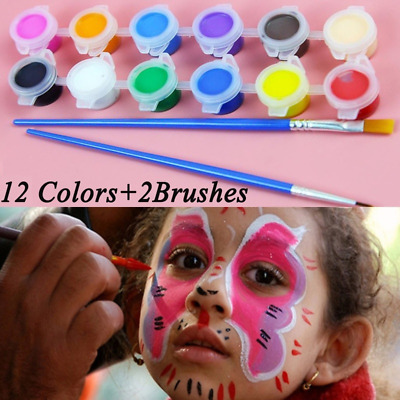 12Colors +2Brush Face Body DIY Painting Tattoo Make Up Set For Halloween Party