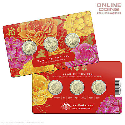 2019 Royal Australian Mint $1 Uncirculated Three Coin Set Lunar Year of the Pig