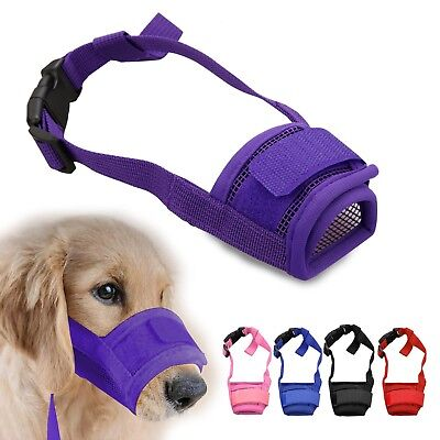 Adjustable Pet Dog Mask BarkBite Mesh Mouth Muzzle Grooming Stop Chewing CA SELL