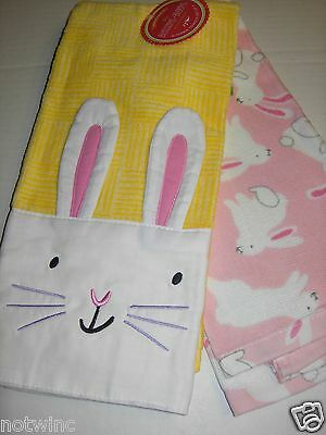 2PC KOHL'S KITCHEN Dish Towels Decorate w/ Easter Bunny Rabbits Spring  Color NWT