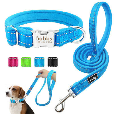 Personalized Dog Collar & Dog Leash Set Plush Padded Nylon Reflective Dog ID Tag