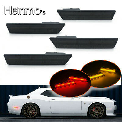 Front & Rear Side Marker Lamp LED Light For 2008-2014 Dodge Challenger Amber+Red
