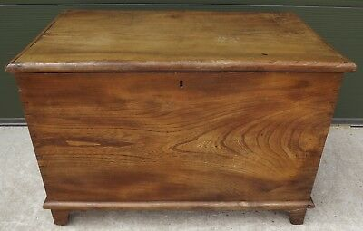 Solid Elm Wooden Blanket Box Coffer Chest Storage, Craftsman-Made Antique Style
