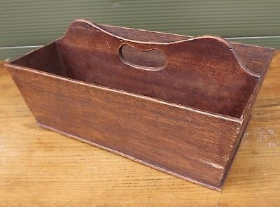 Lovely Oak Cutlery Box Carrier with Handle, in the Antique Style