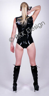 LARGE 100 % Latex Rubber BLACK Body Top Suit Second Skin *AMAZING HOT CUT*