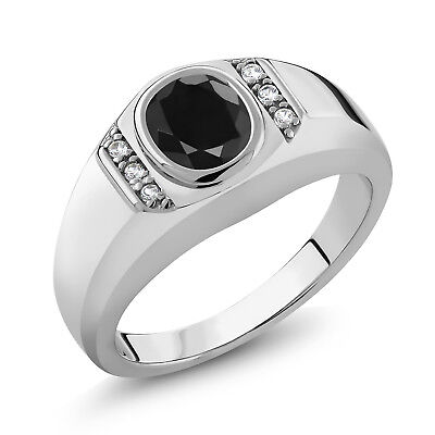 1.72 Ct Oval Black Sapphire White Created Sapphire 925 Silver Men's Ring