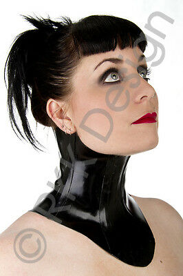 LARGE Black Rubber Latex NECK CORSET lace-up looks awesome with catsuit