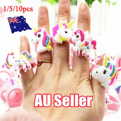 AU 5/10x Rainbow Silicone Unicorn Rings Jewelry Children Wedding Party Favours O