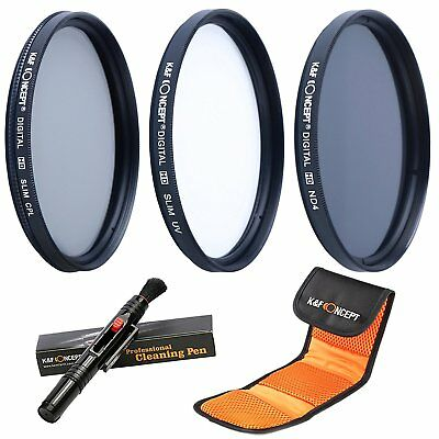 K&F Concept 58mm UV CPL ND4 Lens Filters Kit Pouch for Canon Nikon DSLR Cameras