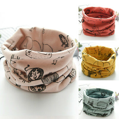 2018 Kids Cartoon Scarf Winter Boys Girls Cotton O Ring Neck Warm Scarves