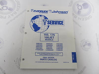 437496 OMC Evinrude Johnson 150/175 HP 105JET Outboard Parts Catalog 1995