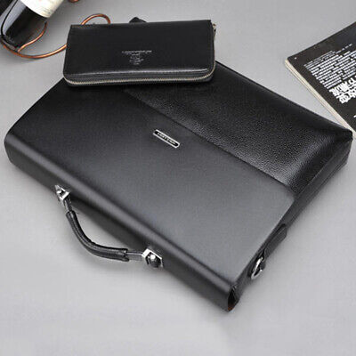 Men's leather Briefcase Waterproof Shoulder Messenger Bag Business Laptop Bags