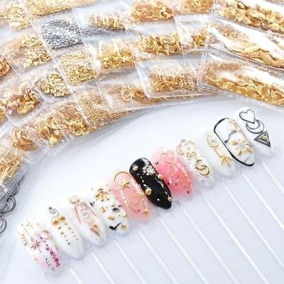 3D Metal Nail Art Decoration Ocean Rivets Gold Shell Rhinestones Manicure Tips