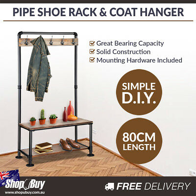 Metal Industrial Pipe Rustic Shoe Rack and Coat Hanger Hallway Entry DIY Shelf
