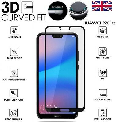 For Huawei P20 Lite Genuine Full 3D Tempered Glass 9H Screen Protector Cover