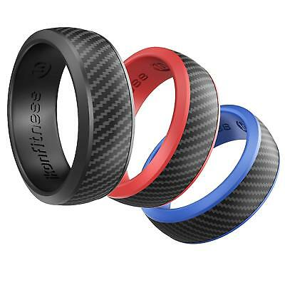 Silicone Rubber Wedding Ring for Men Comfortable Fit Skin Safe - 3 Pack