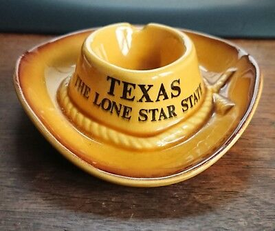 Vtg Texas The Lone Star State Gold Cowboy Hat Ashtray - Made In Japan