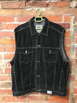 VINTAGE DENIM VEST SLEEVELESS BLACK by MARCEL CLAIR 90s CUT-OFF (dw23) SIZE XXL
