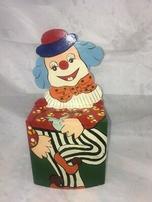 Vintage Wooden Hand Painted Clown Money Box.