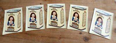 5 vintage OUR MOTHER'S PURE COCOA Bottle Can Labels E & A OPLER CHICAGO NEW YORK