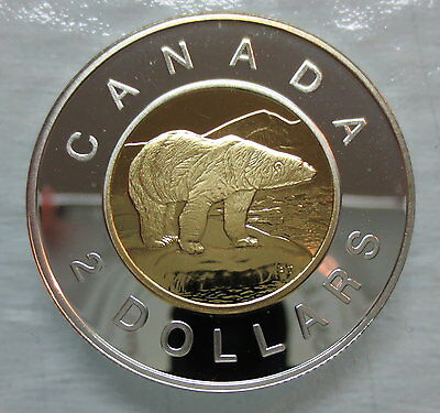 1998 Canada Toonie Proof Silver With 24K Gold Plated Core Two Dollar Coin