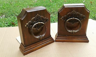 Vintage Antique Solid Wood/metal Door Knocker Shelf/desk Bookends Home Decor