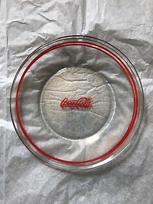 Coca Cola Plates Clear Glass Red Ring Coke 10 Inch Plate