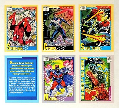 ESA1933. Impel Marvel Comics Universe Series 2 Trading Card Promo Sheet (1991)