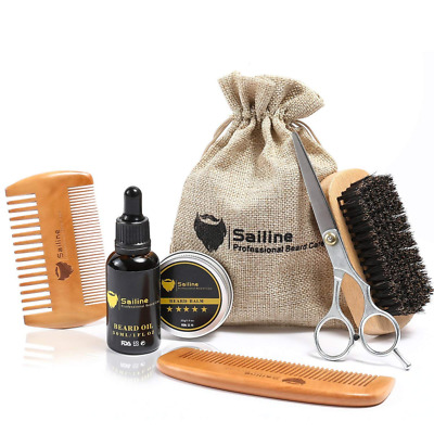 Beard Grooming & Trimming Kit for Men Care Brush Comb X2 Oil Conditioner US SHIP