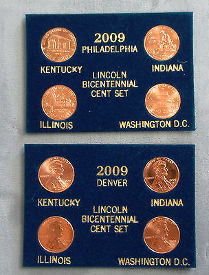 2009 Lincoln Bicentennial Penny 8 pc. Set. P&D Mint. Blue Packaging