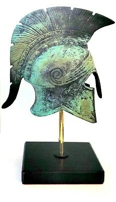 Ancient Greek Bronze Museum Replica Vintage Athenian Battle Helmet Collectible