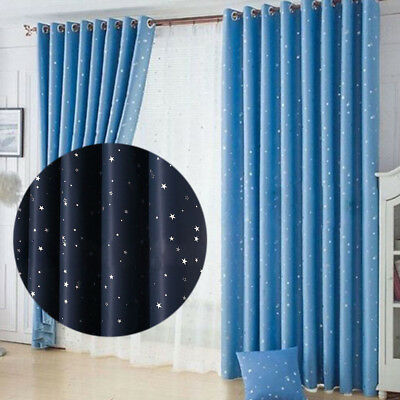 2PCS Stars Heavy Thick Blackout Grommet Window Bedroom Curtains Panels
