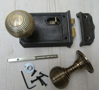Old Vintage Style Cast Iron Period Home Country Rim Door Latch Knob Handle Set