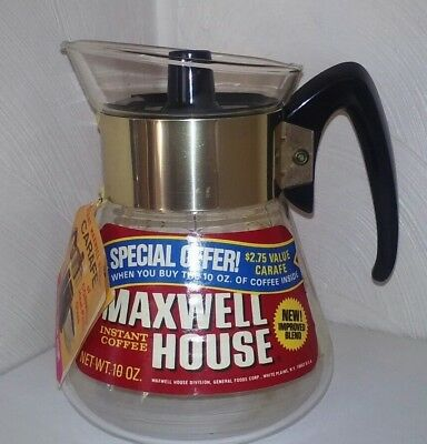 VTG Maxwell House Corning Glass INSTANT COFFEE  Pot 10 oz  Promo Atomic Stars