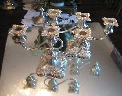Devine Quality Antique Twist Tri Pair Of Silver Plate Candleabra  Candle Holders