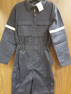 NEW Overall Coverall Work Uniform w/3M Scotchlite Navy Blue