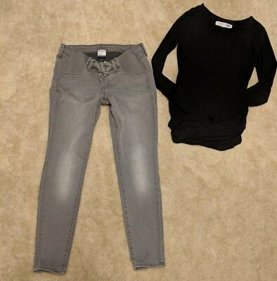 Old Navy Gray Rockstar Maternity Skinny Stretch Jeans and top 4S