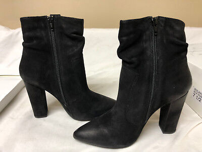 20244989466 STEVE MADDEN WOMEN S Editor Ankle Boot Black Leather Size 9.5 M ...