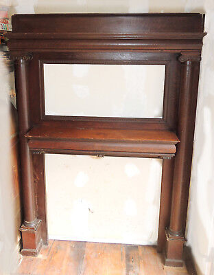 Antique Large Stately Quarter-Sawn Oak Fireplace Mantel Circa 1900