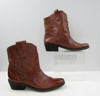 a524a054639b5a Ladies Franco Sarto Brown Leather Fashion Ankle Booties Size  6-6 12
