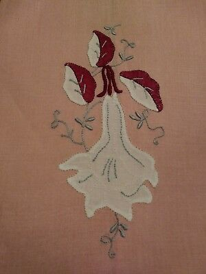 """Beautiful Madeira Embroidered  and Applique Linen Hand Towel 18 1/2"""" by 12 1/2"""""""