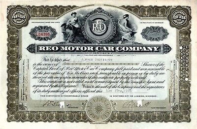 REO Motor Car Company of Lansing Michigan 1916 Stock Certificate #4786 excellent
