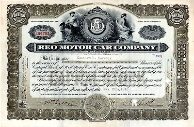 REO Motor Car Company of Lansing Michigan 1916 Stock Certificate #4793 excellent