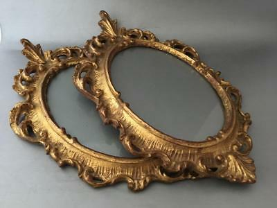 Antique Vtg Italian Florentine Gold Leaf Gilt Tole Wood Oval Picture Frame Pair