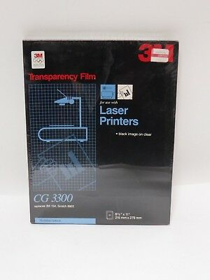 """3M Transparency Film For Laser Printers  8.5""""x11"""" 50 Sheets CG3300 NOS"""