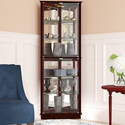 Glass Curio Cabinet Lighted Corner Large Display Shelves Storage Mirrored  Trophy