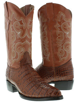 00178ad880c MENS COGNAC ALLIGATOR Belly Print Leather Western Rodeo Cowboy Boots ...